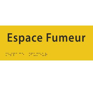 """Plaque porte avec Braille et relief """"Espace fumeur"""""""