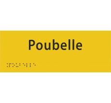 """Plaque porte avec Braille et relief """"Poubelle"""""""