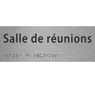 """Plaque porte avec Braille et relief """"Salle de réunions"""""""