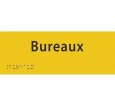 """Plaque porte avec Braille et relief """"Bureaux"""""""