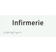 """Plaque porte avec Braille et relief """"Infirmerie"""""""