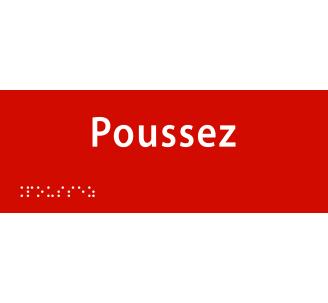 """Plaque porte avec Braille et relief """"Poussez"""""""