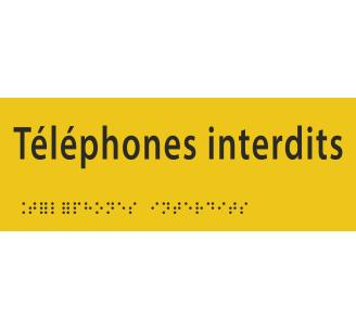 """Plaque porte avec Braille et relief """"Téléphones interdits"""""""