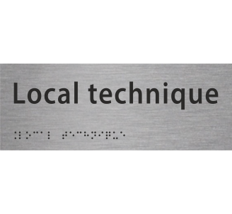 "Plaque porte avec Braille et relief ""Local technique"""