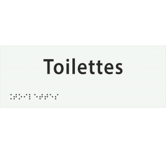 """Plaque porte avec Braille et relief """"Toilettes"""""""