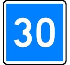 """Kit ou panneau type routier """"Vitesse conseillée - 30kmh"""" ref:C4a"""