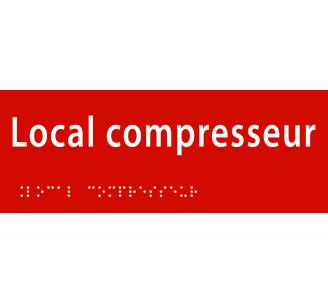 """Plaque porte avec Braille et relief """"Local compresseur"""""""