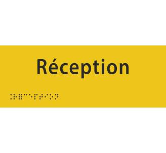 """Plaque porte avec Braille et relief """"Réception"""""""