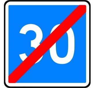 """Panneau seul kit type routier """"Fin de vitesse conseillée - 30kmh"""" ref:C4b"""
