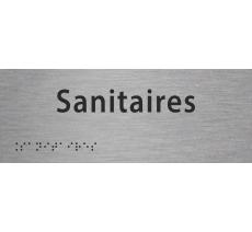 """Plaque porte avec Braille et relief """"Sanitaires"""""""