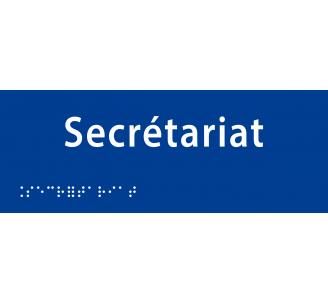 """Plaque porte avec Braille et relief """"Secrétariat"""""""