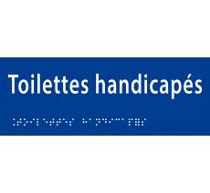 """Plaque porte avec Braille et relief """"Toilettes handicapés"""""""