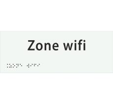 "Plaque porte avec Braille et relief ""Zone wifi"""