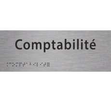 """Plaque porte avec Braille et relief """"Comptabilité"""""""