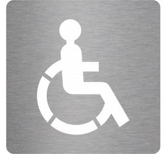 Plaque porte picto alu brossé découpé Toilettes handicapé