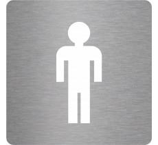 Plaque porte picto alu brossé découpé Toilettes garçon