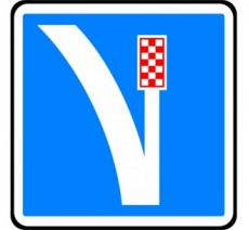 """Panneau seul ou en kit type routier  """"Voie de détresse à droite""""  ref:C26a"""