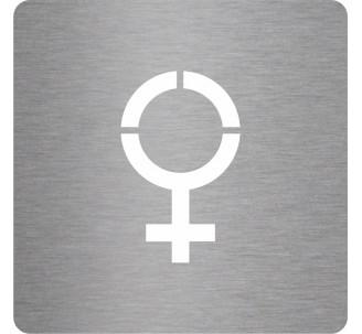 Picto alu brossé découpé pochoir 100mm de haut Symbole Femme