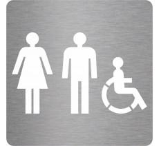 """Picto découpé pochoir """"Toilettes mixtes handicapés"""" couleurs au choix"""