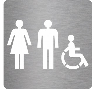 Picto alu brossé découpé pochoir 100mm de haut Toilettes mixtes , handicapé