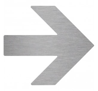 Plaque porte picto alu brossé découpé Flèche vers la droite