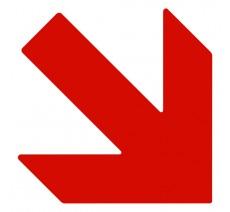 """Plaque porte picto alu ou pvc découpé """"Flèche en bas vers la droite"""", 5 couleurs au choix"""