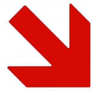 Plaque porte picto alu brossé découpé Flèche en bas vers la droite