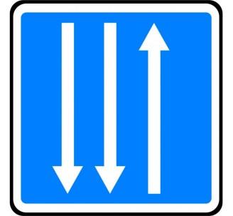 """Panneau seul ou en kit type routier """"Section de routes à 3 voies"""" ref:C29c"""