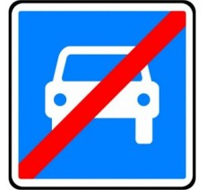 """Panneau seul ou en kit type routier  """"Fin de route à accès réglementé""""  ref:C108"""