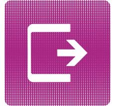 "Plaque de porte  ""Point Picto"" en plexiglass en aluminium -Logo Sortie"