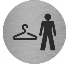 Plaque porte alu ou pvc picto rond vestiaire hommes