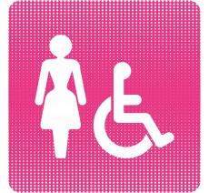 """Plaque de porte """"Point Picto"""" - Toilettes femme, handicapé"""