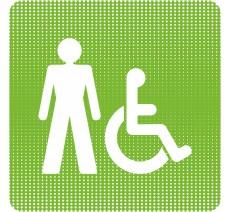 """Plaque de porte """"Point Picto"""" - Toilettes homme, handicapé"""