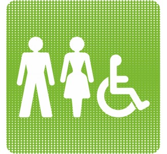 """Plaque de porte """"Point Picto"""" - Toilettes mixtes, handicapé"""