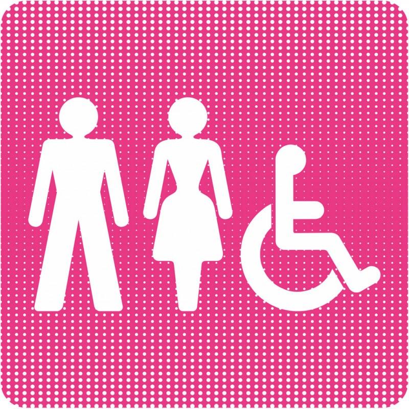 plaque de porte toilettes mixtes handicap point picto. Black Bedroom Furniture Sets. Home Design Ideas