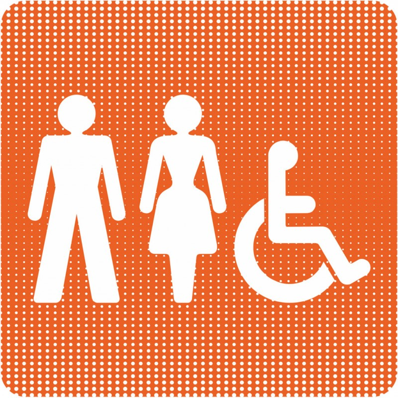 Plaque de porte toilettes mixtes handicap point picto for Porte handicape