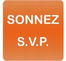 """Plaque de porte  """"Point Picto"""" en plexi ou alu -  Sonnez svp"""