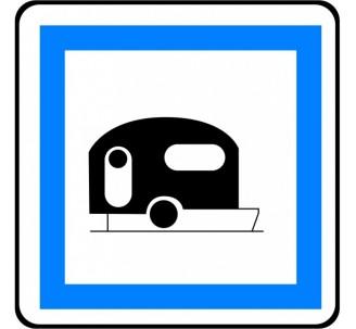 """Panneau type routier  """"Terrain de camping pour caravanes""""  ref:CE4b"""