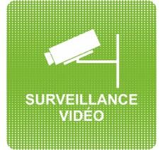 """Plaque de porte """"Point Picto"""" en plexi/alu - Vidéo surveillance"""