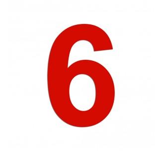 """Chiffre """"6"""" découpé en alu, coloris et dimensions au choix"""