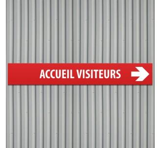 "Plaque alu dim: 120 x 800 mm ""ACCUEIL VISITEURS"""