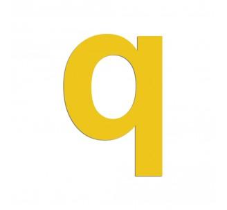 """Lettre """"q"""" minuscule en alu découpé, 5 coloris 2 hauteurs"""