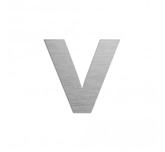 """Lettre """"v"""" minuscule en alu découpé, 5 couleurs et 2 hauteurs"""
