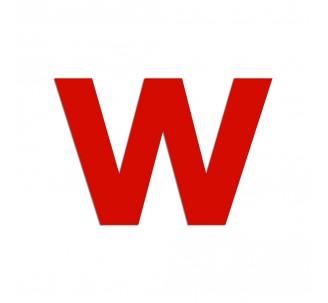 """Lettre """"w"""" minuscule en alu découpé, coloris et hauteur au choix"""