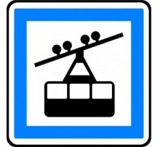 """Kit ou panneau type routier """"Gare de téléphérique"""" ref:CE20a"""
