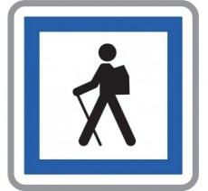 """Panneau seul ou en kit type routier  """"Point de départ d'un itinéraire pédestre""""  ref:CE6a"""