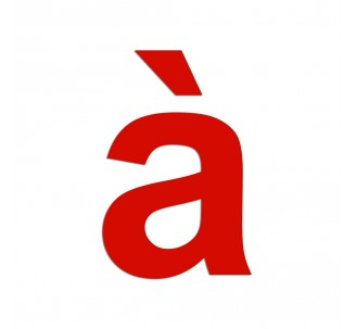 """Lettre """" à """" en aluminium découpé, 5 couleurs et 2 dimensions"""