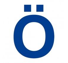 """Lettre """" Ö """" en alu ou PVC, 2 hauteurs au choix"""