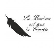 """Sticker """"Le bonheur est sous la couette"""""""