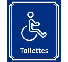 """Plaque porte Côté rue """" Toilettes Handicapé"""" en aluminium"""